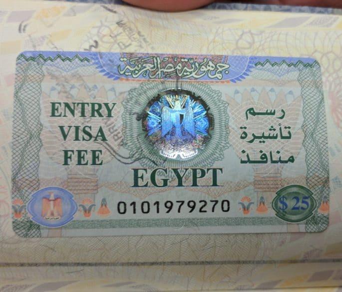 Passaporte com visto de entrada para o Egito.
