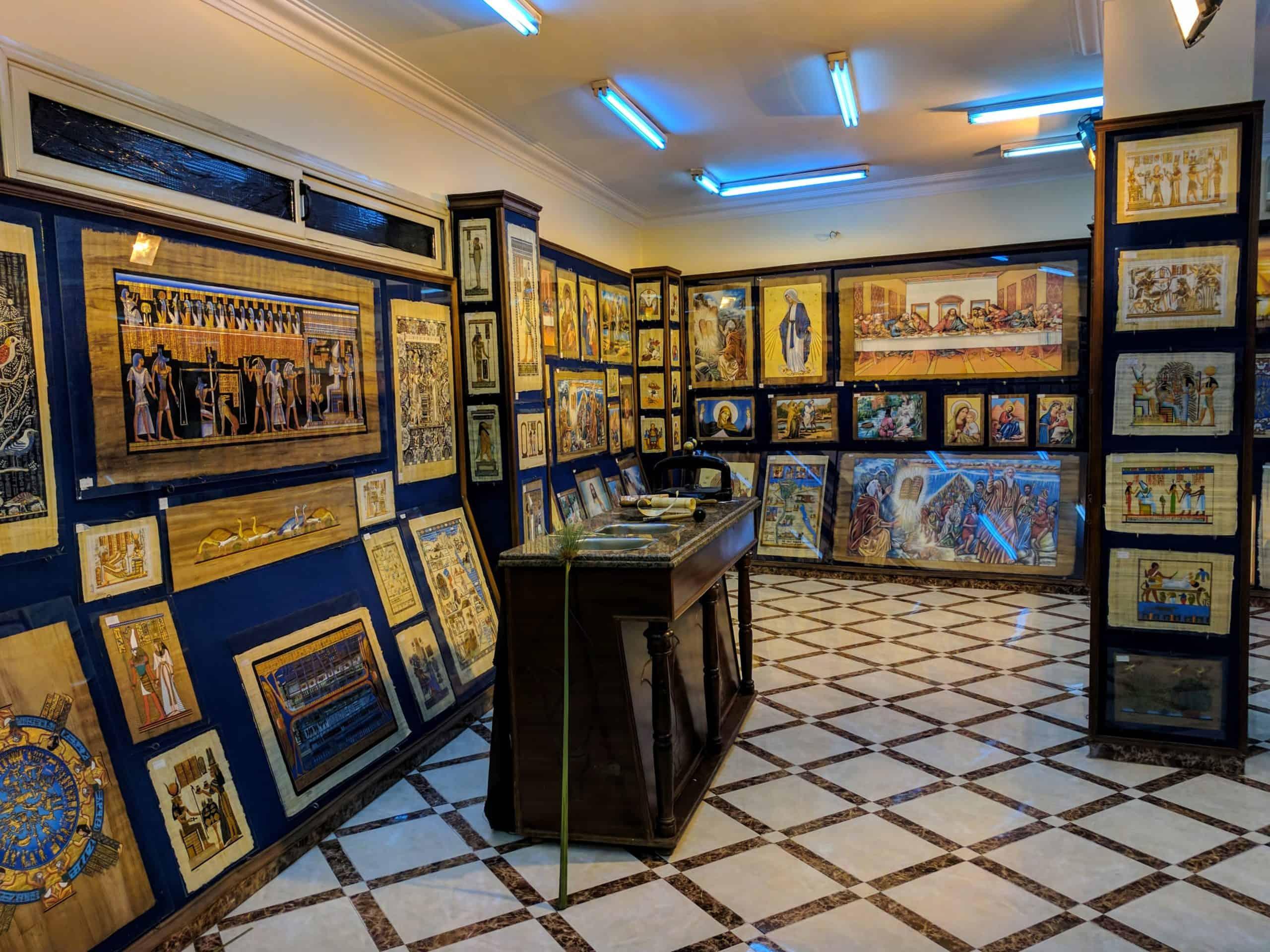 Loja de papiros no Cairo.