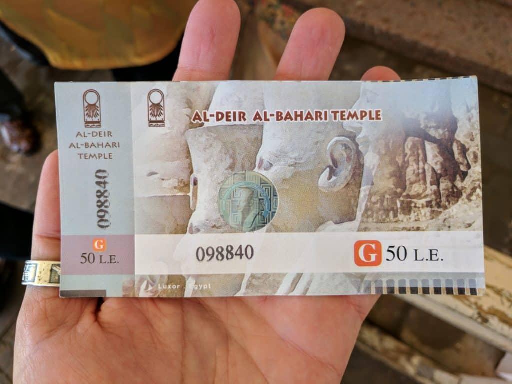 Bilhetes de entrada fazem parte dos gastos no Egito.