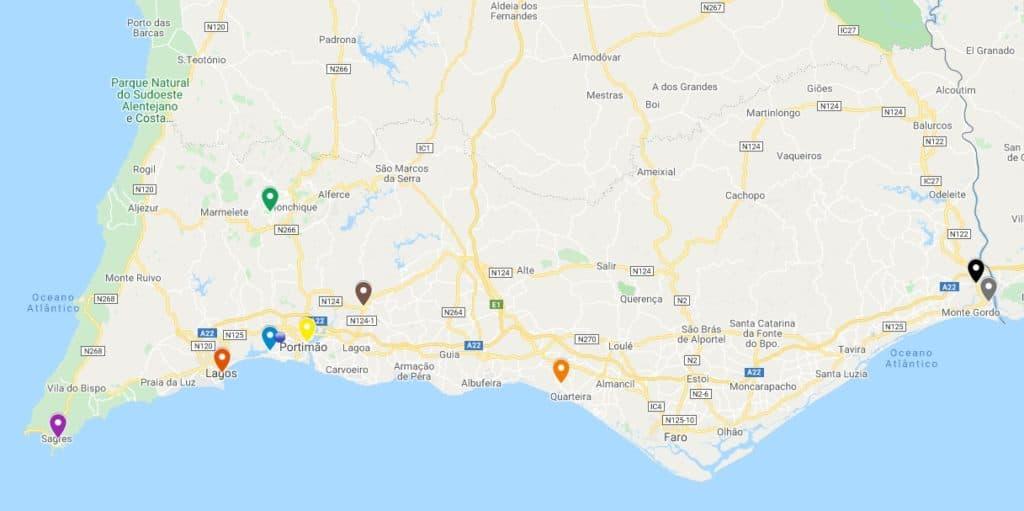 Mapa para roteiro no Algarve