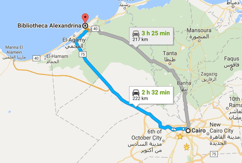Mapa com viagem de Cairo a Alexandria em um roteiro de turismo no Egito.