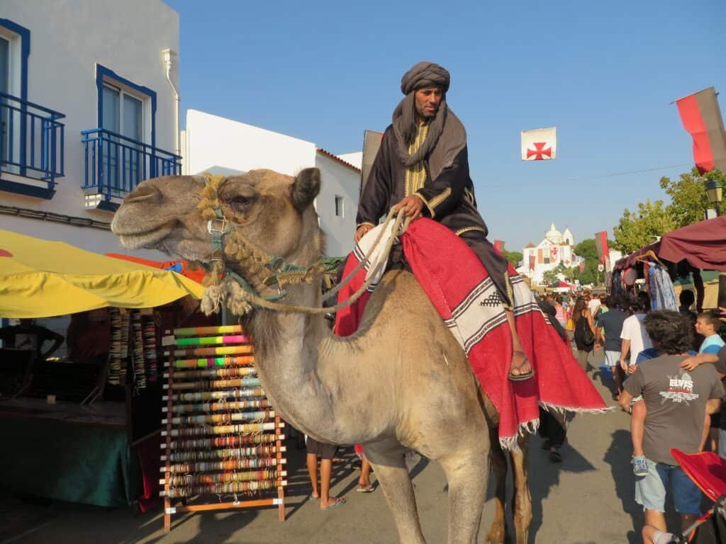 Homem anda de camelo