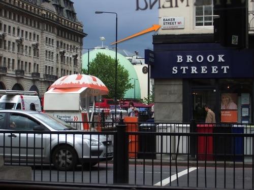 Esquina da Baker Street e pizzaria agora mais de perto