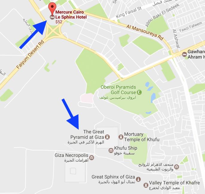 Mapa Hotel Cairo Le Sphinx, perto das pirâmides