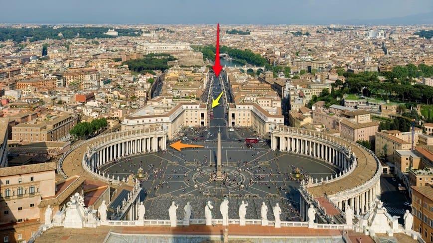Vista por cima do Vaticano.