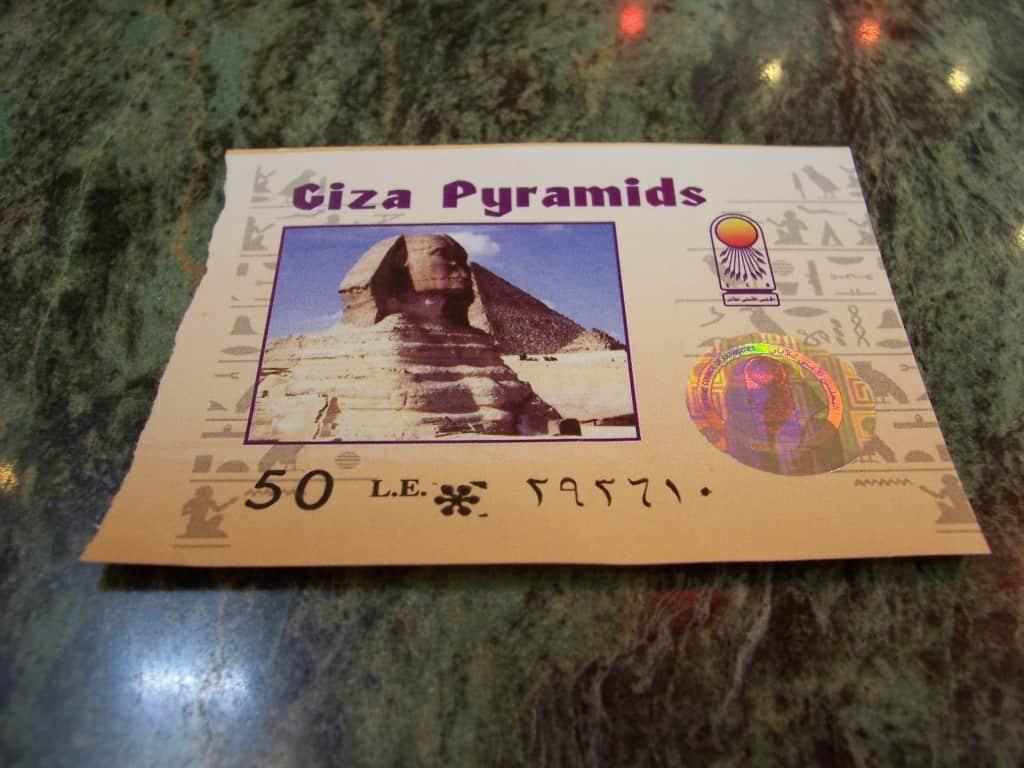 Bilhete de entrada para as pirâmides do Egito