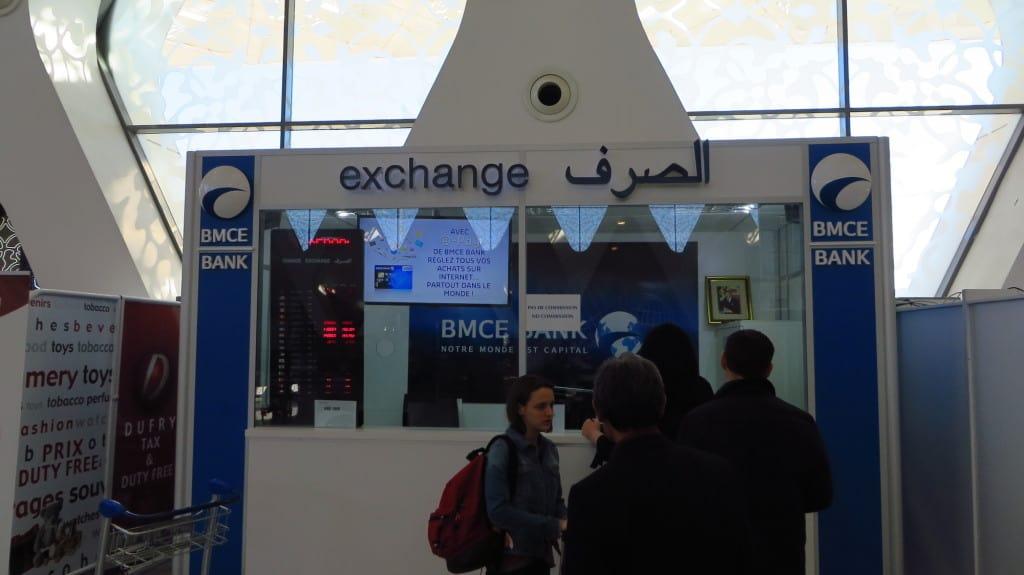 Casa de câmbio no aeroporto de Marrakech.