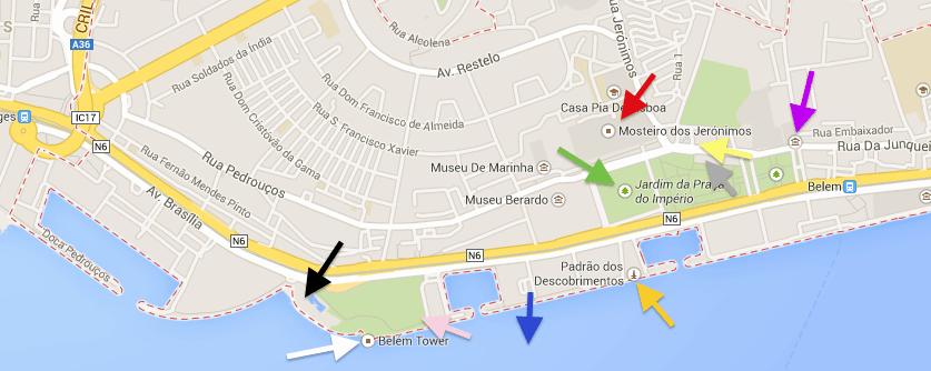 Mapa com pontos turísticos de Belém.