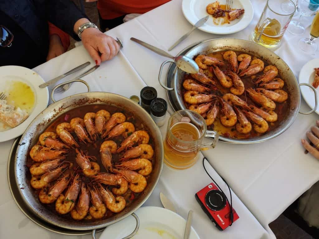 Pratos com camarões