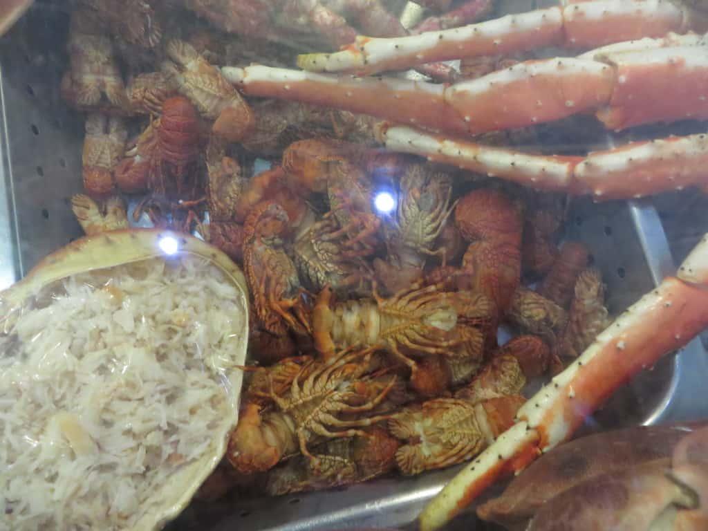 Frutos do mar à mostra no restaurante