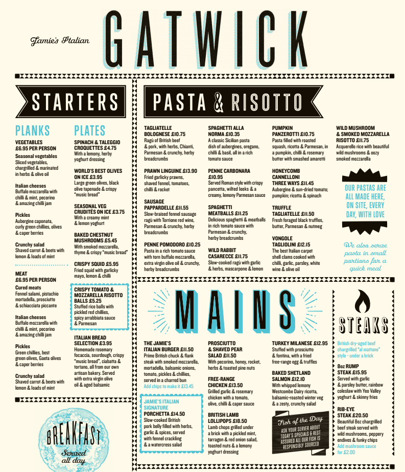 Restaurante de Jamie Oliver, Gatwick, Inglaterra