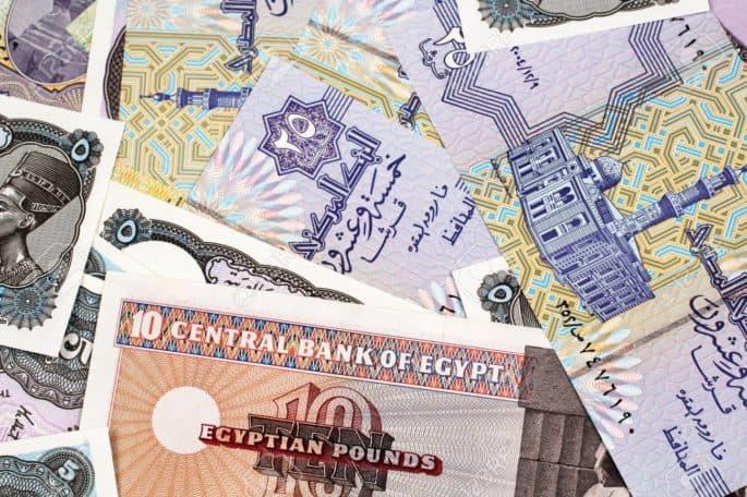 Notas de dinheiro egípcio.