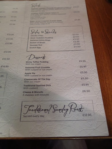 Pub Sherlock Holmes: menu