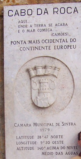 Sintra, Cabo da Roca: ponta mais ocidental do continente europeu