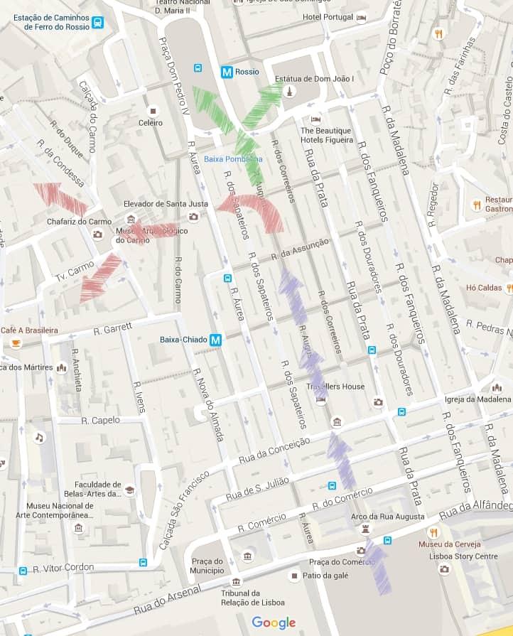 praça do rossio lisboa mapa Roteiro de um dia em Lisboa   G. DAMAS praça do rossio lisboa mapa
