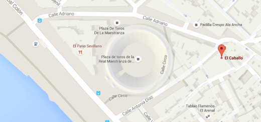 Mapa com a loja El Caballo, em Sevilha