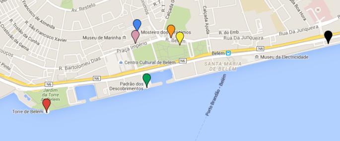 Mapa para algumas horas em Lisboa