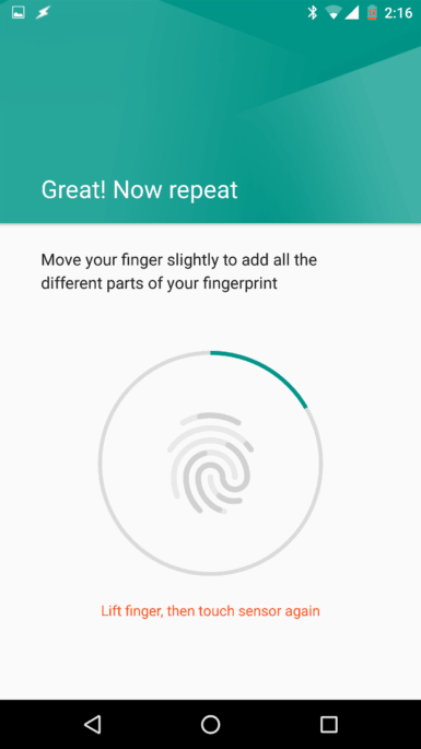 Leitor de impressão digital do Nexus 6P
