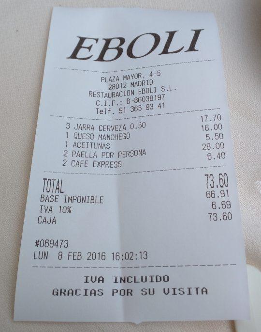 Fatura no Restaurante Eboli