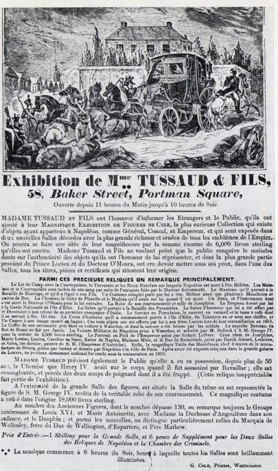 Cartaz antigo de exibição Madame Tussauds