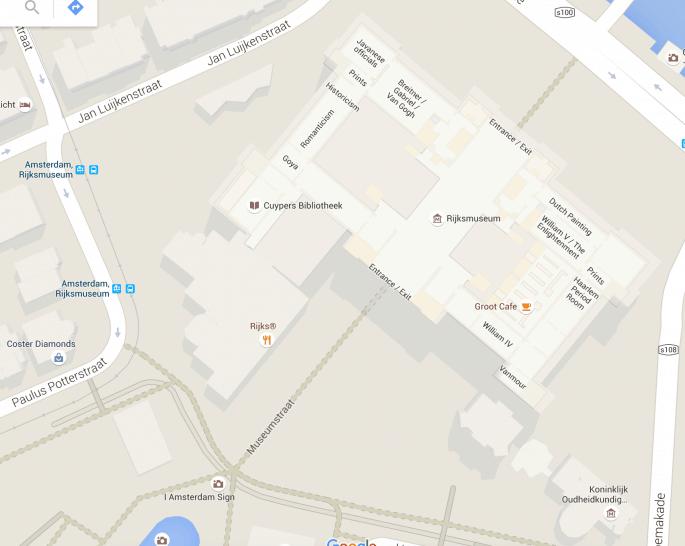 Rijksmuseum e Museumplein - Mapa