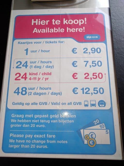 Transporte público em Amsterdã | Tram | Preços dos bilhetes
