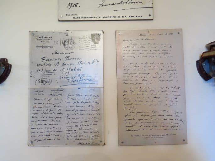 Restaurante Martinho da Arcada: reprodução de textos de Fernando Pessoa