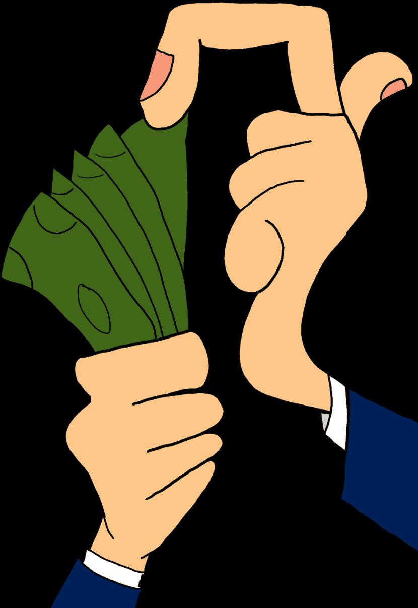 Mão conta dinheiro.
