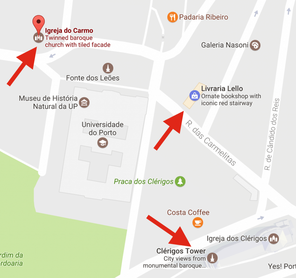Mapa da Igreja do Carmo, em Porto