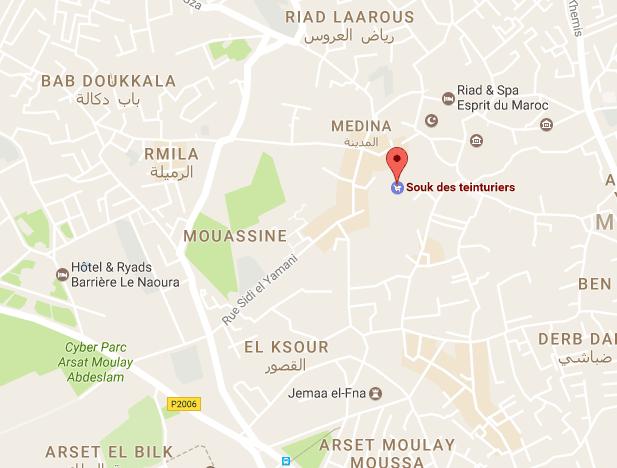Mapa do mercado de tinturaria em Marrakech