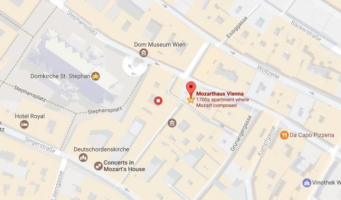 Casa de Mozart em Viena: mapa