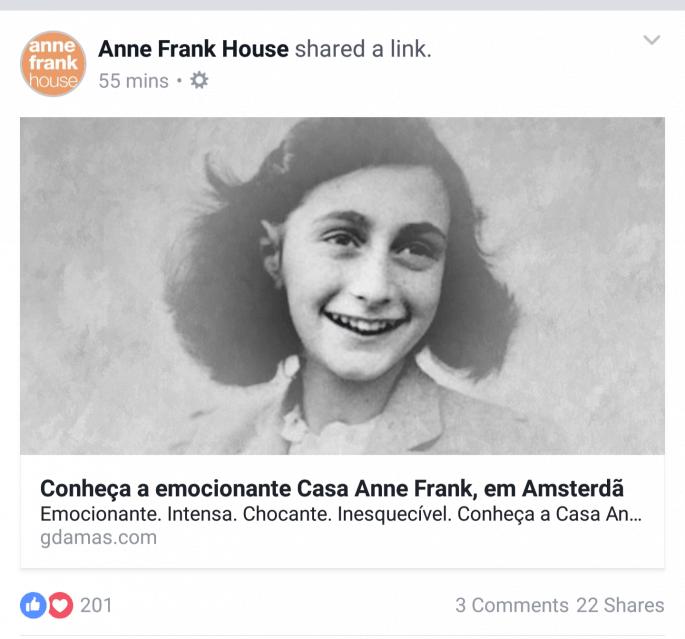 Casa Anne Frank divulgou este blog