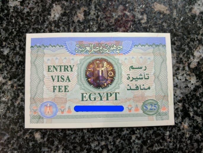 O meu visto para turismo no Egito.