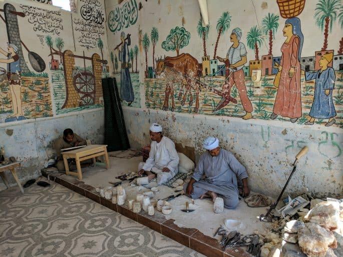 Loja de produtos de alabastro (e outros materiais) em Luxor