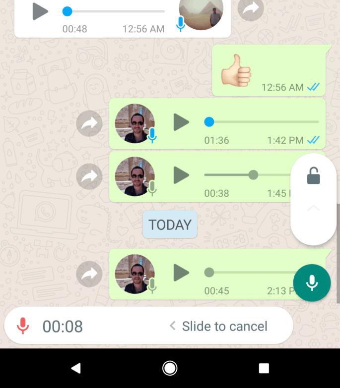 Gravar áudios no WhatsApp sem precisar manter o dedo na tela