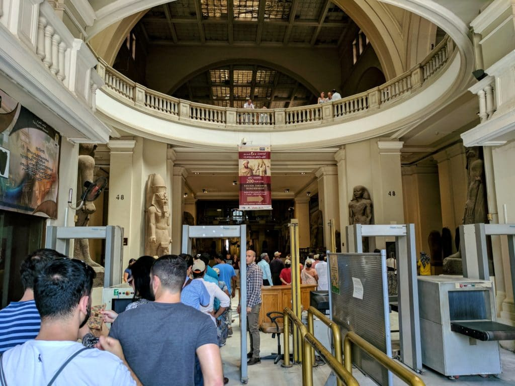 Entering the Cairo Museum
