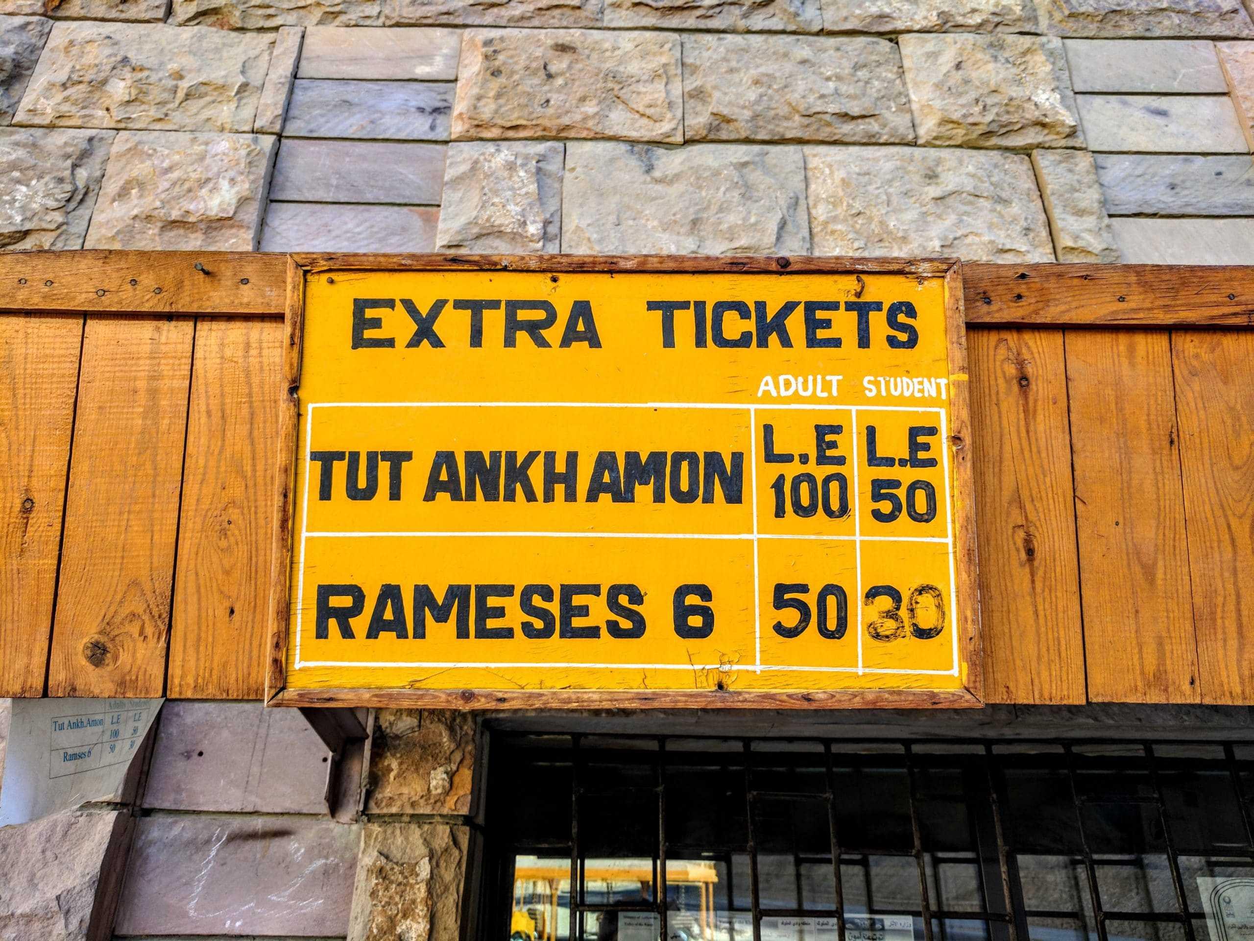 Tickets extras para a tumba de Tutancamon e para a tumba de Ramsés VI