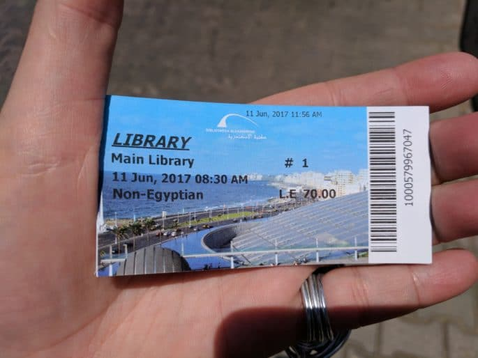 Bilhete de entrada para a Biblioteca de Alexandria.