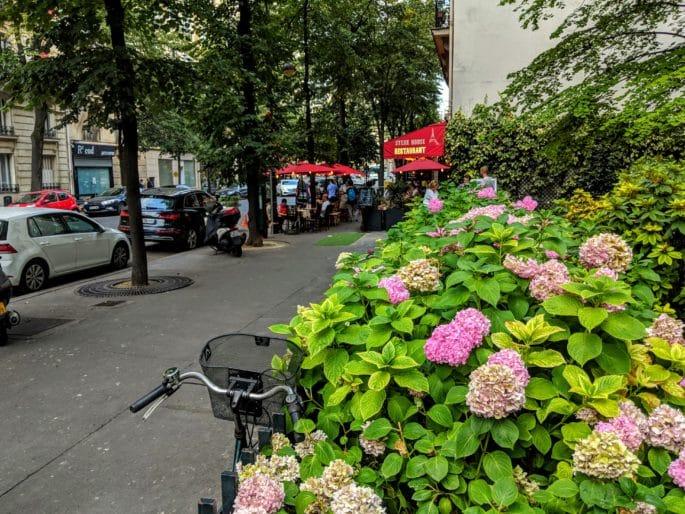 Flores em rua em Paris.