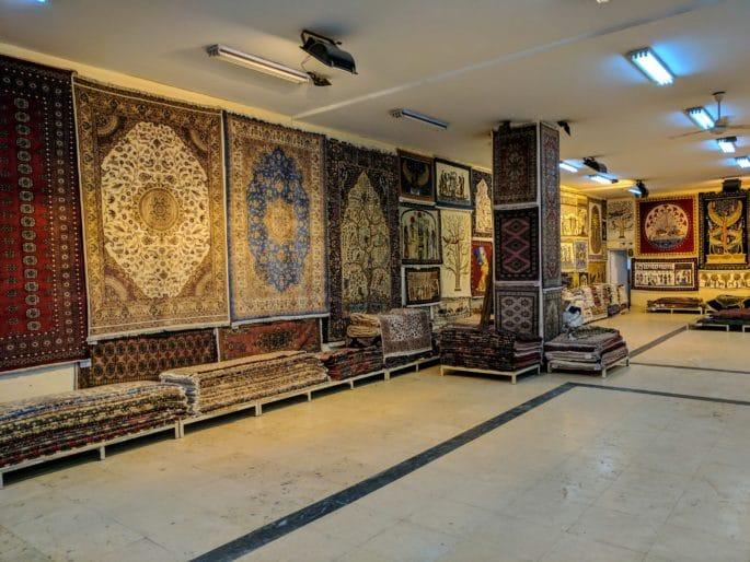 A loja de tapetes no Egito.
