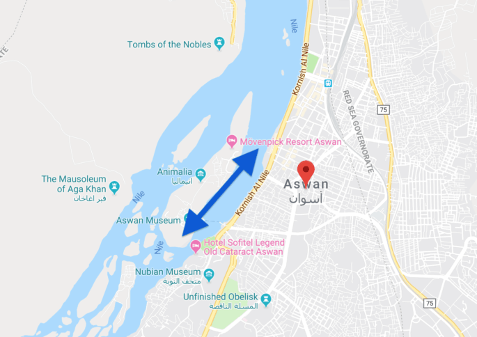 Mapa que mostra o trecho de navegação com a faluca no Rio Nilo.