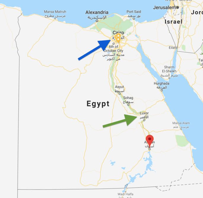Mapa do Egito mostra Aswan em comparação com o Cairo.