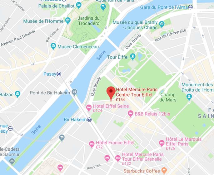 Mapa com o Mercure Paris Centre Tour Eiffel.