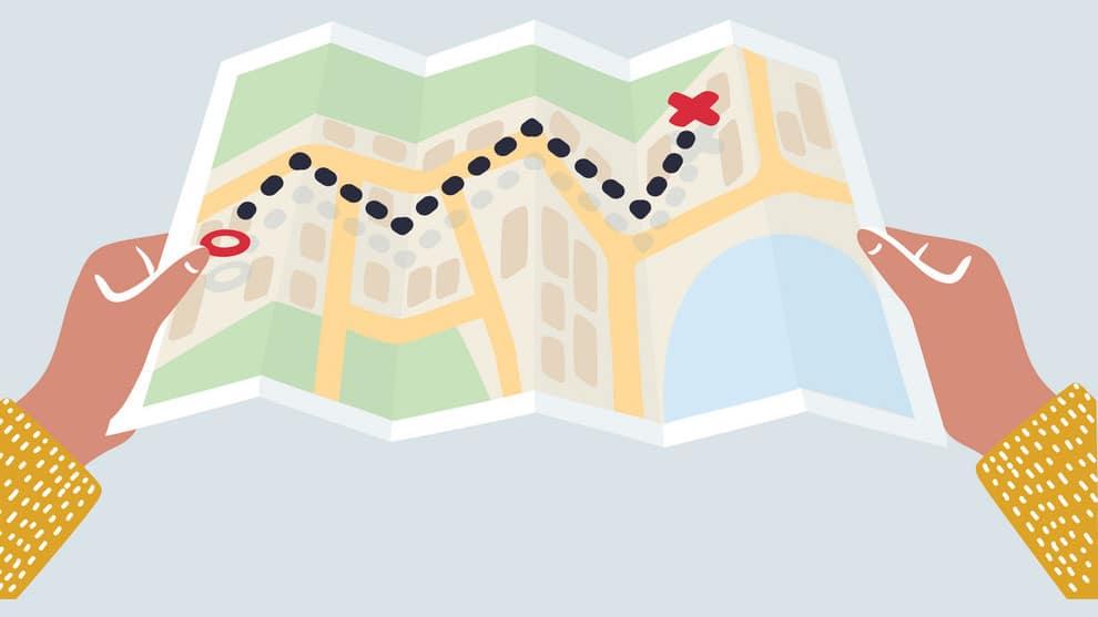 Cartoon de mapa impresso.
