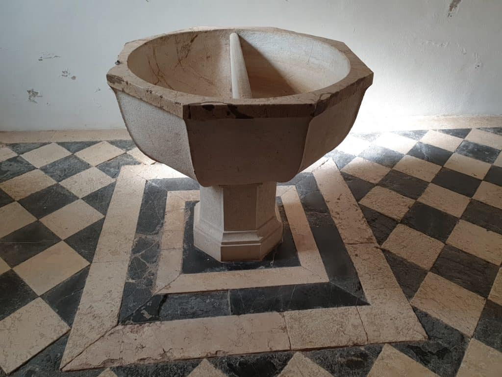 Baptismal font inside the Silves Cathedral