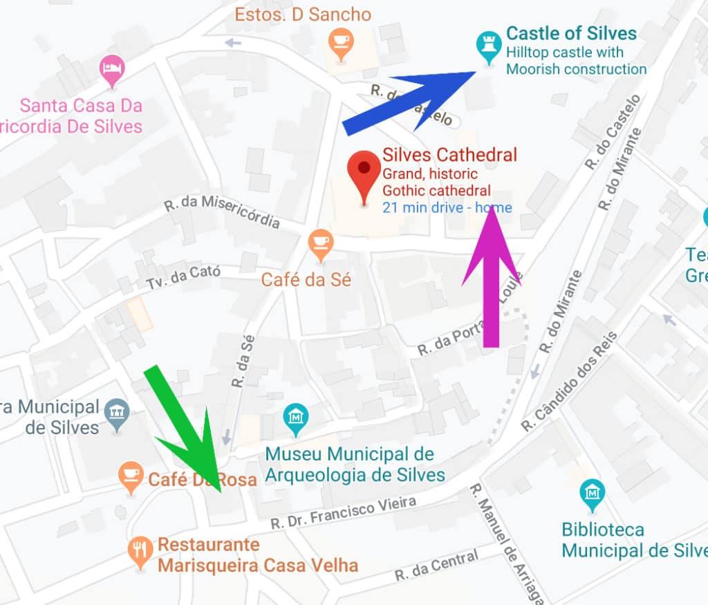 Mapa com a Catedral de Silves.