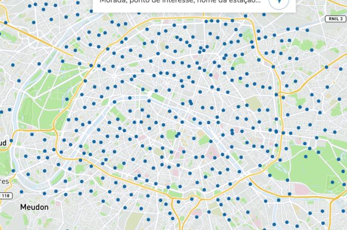 Mapa de estações Vélib' em Paris.