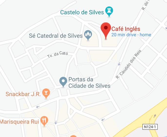 Mapa com o Restaurante Café Inglês.