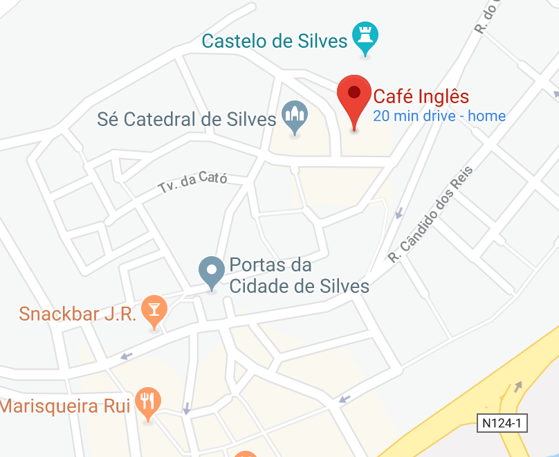 Map with Restaurant Café Inglês, in Silves