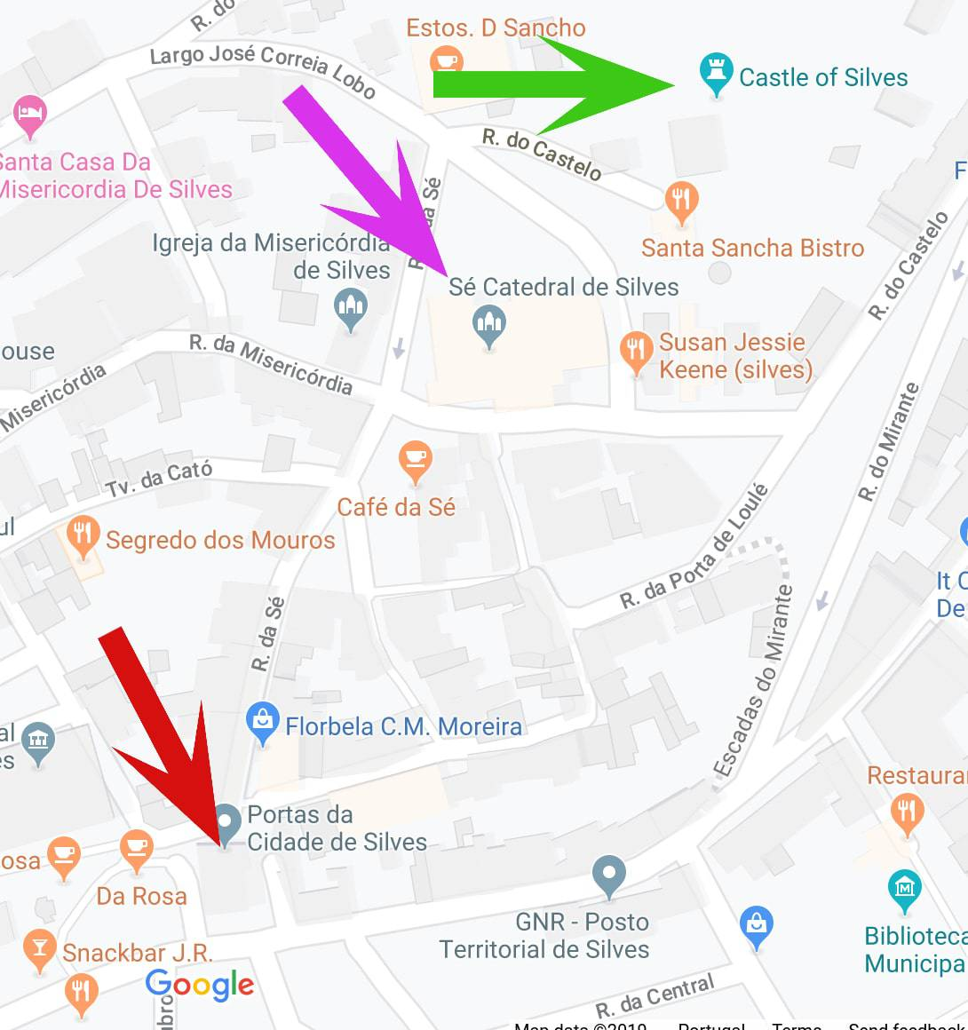 Map showing the Turret of the Cite Gate in Silves